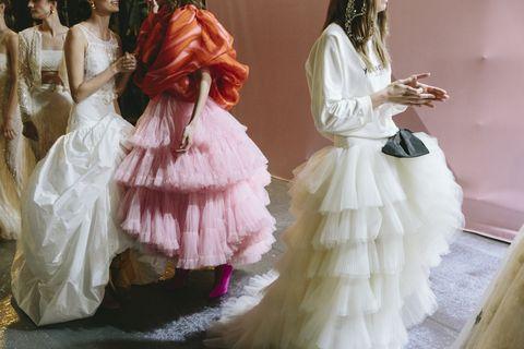 Dress, Gown, Wedding dress, Clothing, Pink, Bridal clothing, Fashion, Victorian fashion, Costume design, Fashion design,