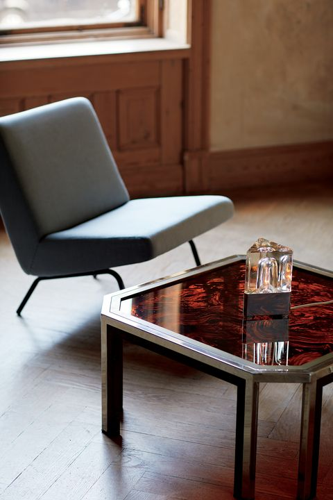 Furniture, Coffee table, Table, Chair, Room, Interior design, Wood, Floor, Hardwood, Living room,