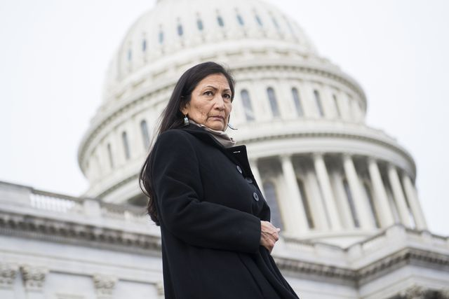 united states   january 04 rep deb haaland, d nm, makes her way to a group photo with democratic women members of the house on the east front of the capitol on january 4, 2019 photo by tom williamscq roll call