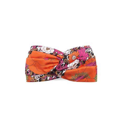 Orange, Footwear, Swimwear, Bikini, Fashion accessory, Turban, Shoe,