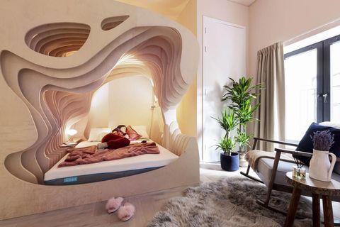 Habitación de hotel inspirada en el útero materno