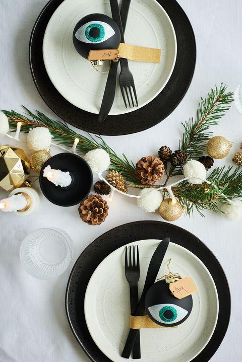 Black and gold Christmas table setting, Anna Barnett for Habitat