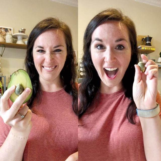 makinze gore with an avocado and an avocado pit