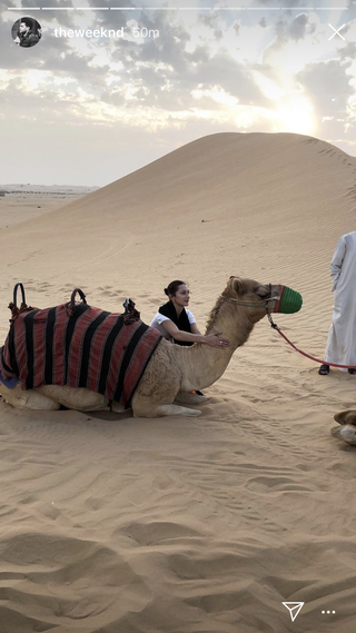 Model cantik ini mencoba naik unta saat berkunjung di gurun pasir lho (dok. Instagram)