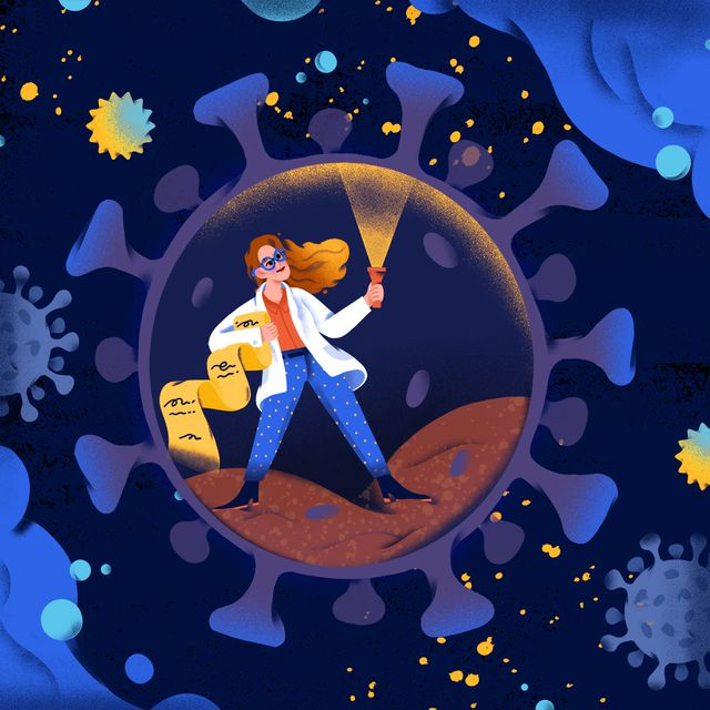 illustration of a female scientist on an expedition inside a virus cell holding a flashlight and a map