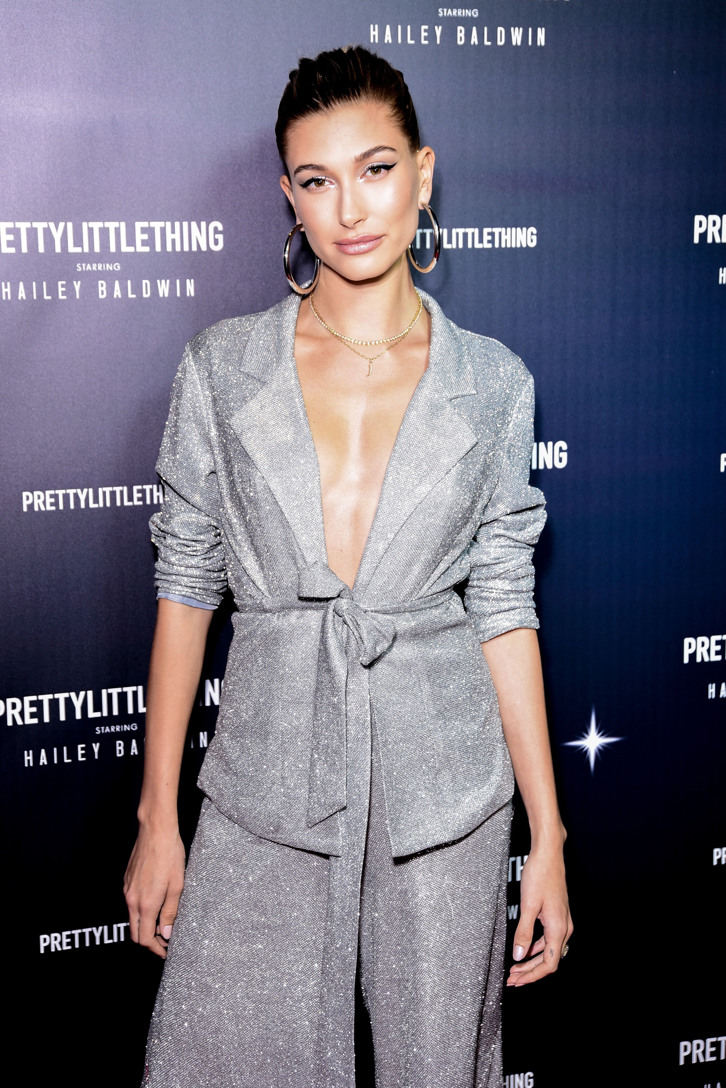 cd6891c455 Hailey Baldwin Celebrated PrettyLittleThing Campaign Without Justin Bieber  and in Glitzy $83 Suit