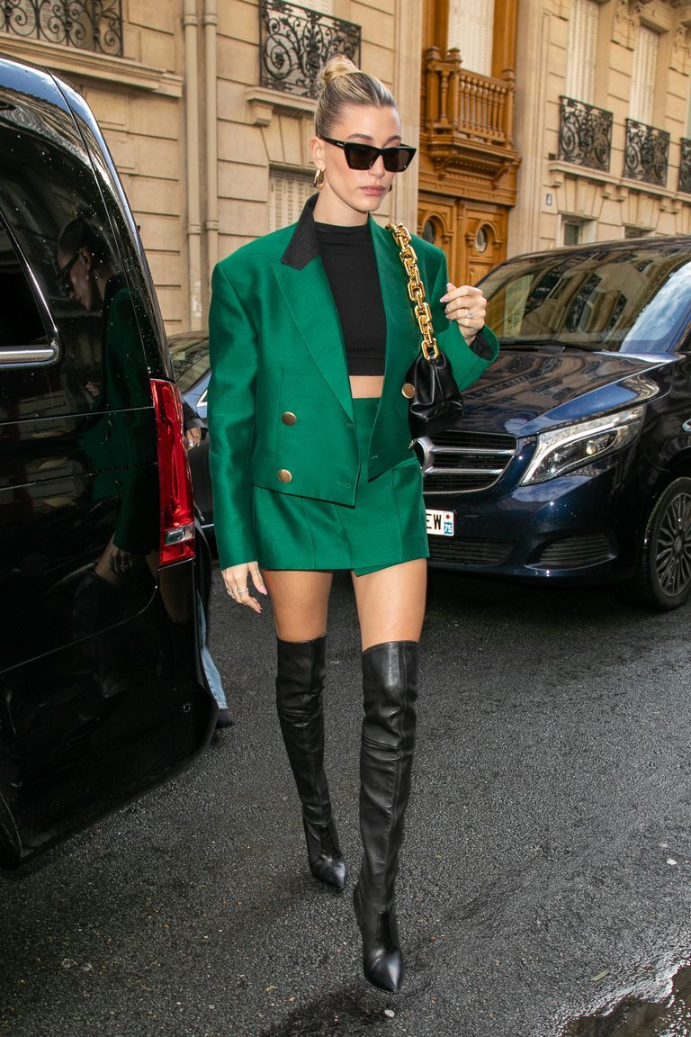 Hailey Bieber Walks the Streets of Paris in a Green Skirt Suit
