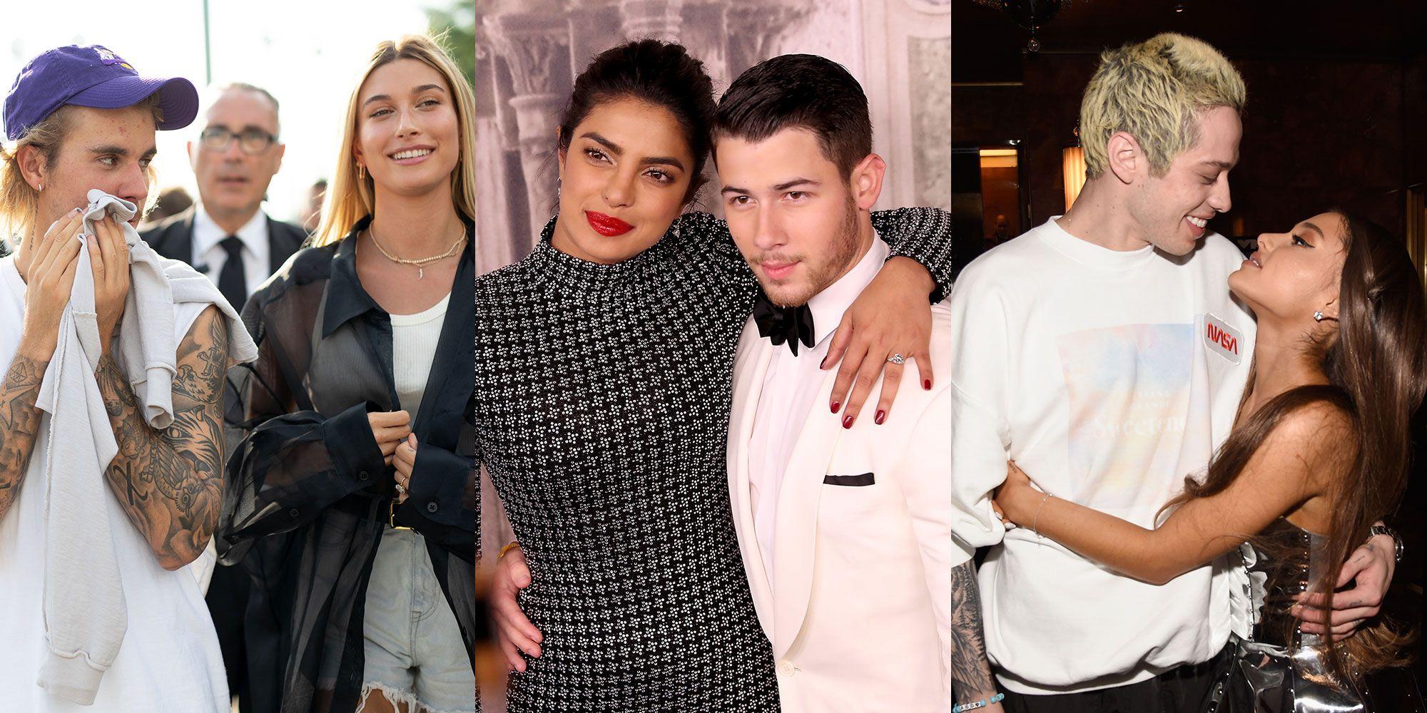 Hailey Baldwin and Justin Bieber, Priyanka Chopra and Nick Jonas, and Pete Davidson and Ariana Grande