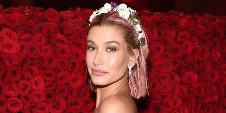 how does pink style her hair hailey baldwin dyed hair pink for the 2018 met gala 5922 | hailey baldwin pink hair 1525741960.jpg?crop=0.850xw:0.850xh;0.0799xw,0