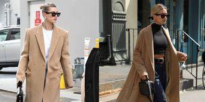 camel coat Hailey Bieber