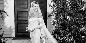 Hailey Bieber show wedding dress which is designed by OFF-WHITE c/o VIRGIL ABLOH.