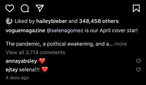 a hailey bieber le gusta un instagram de selena gomez en marzo de 2021
