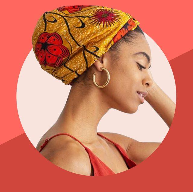 woman wearing silk hair bonnet
