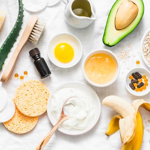 honey, banana, aloe vera, and other hair mask ingredients