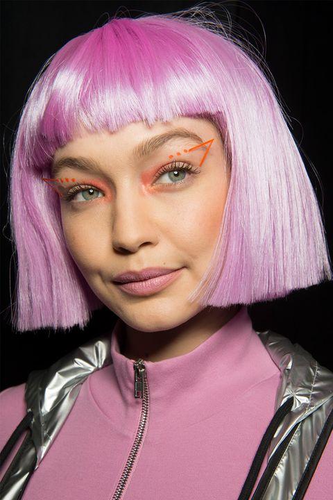 Hair, Face, Pink, Hair coloring, Hairstyle, Purple, Eyebrow, Chin, Lip, Head,