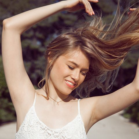 long hair blowing in the wind