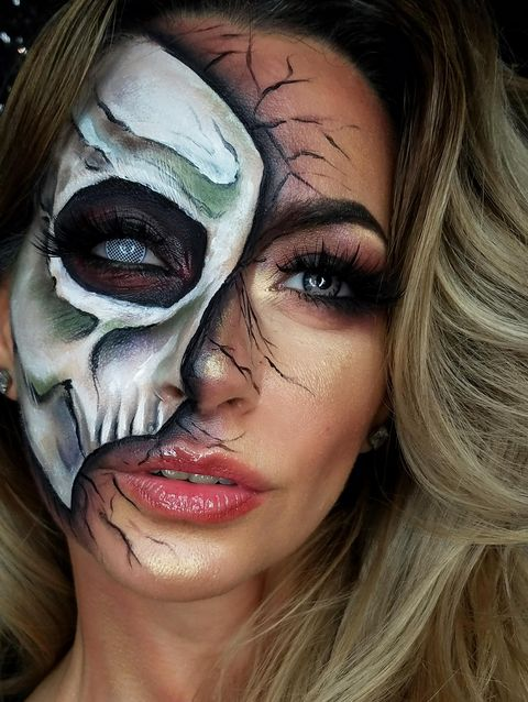 This Half Face Zombie Makeup Look Is The Trippiest Halloween Costume - Halloween-face-makeup