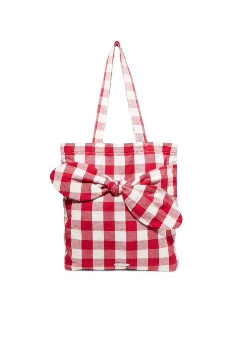 half price designer bags -LOEFFLER RANDALLBessie bow-embellished gingham canvas tote