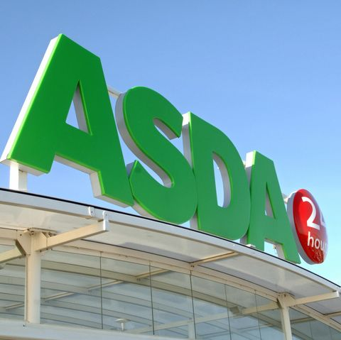 An Asda supermarket store logo is pictur