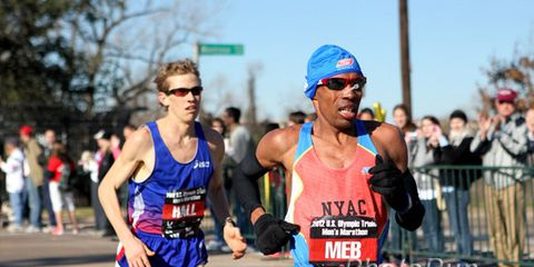 Meb Keflezighi and Ryan Hall at the 2012 Olympic Marathon Trials