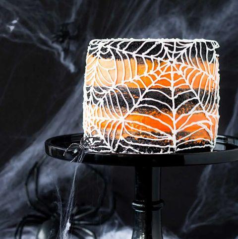 spiderweb layer cake orange and black