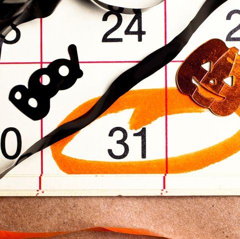 Halloween calendar date circled in orange, pumpkin and Boo