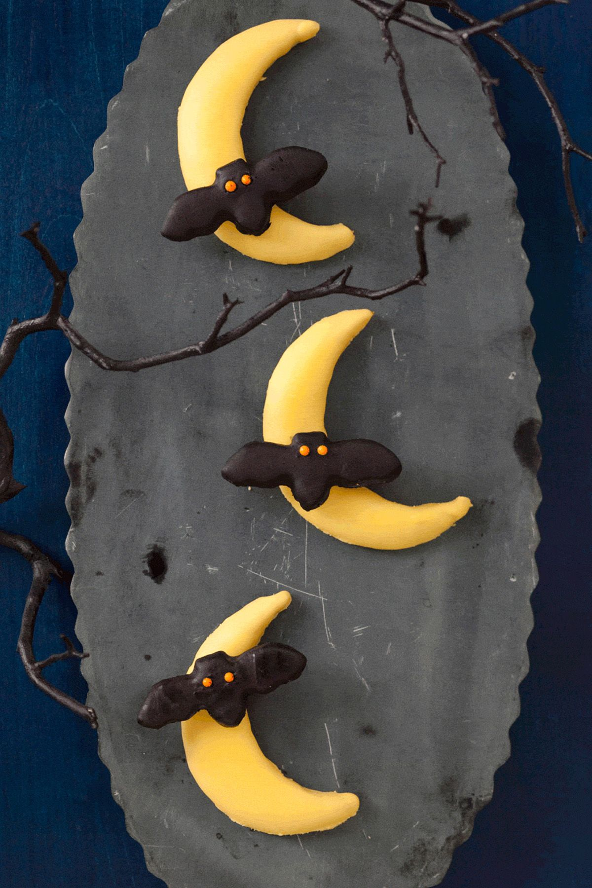halloween cookies bats flying across the moon