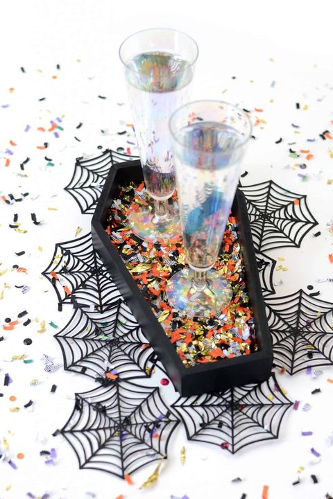 halloween craft coffin confetti tray