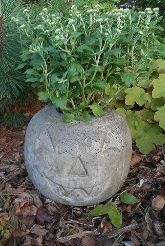 halloween crafts concrete pumpkin planter