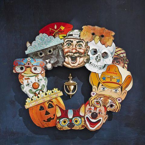 wreath made of halloween masks