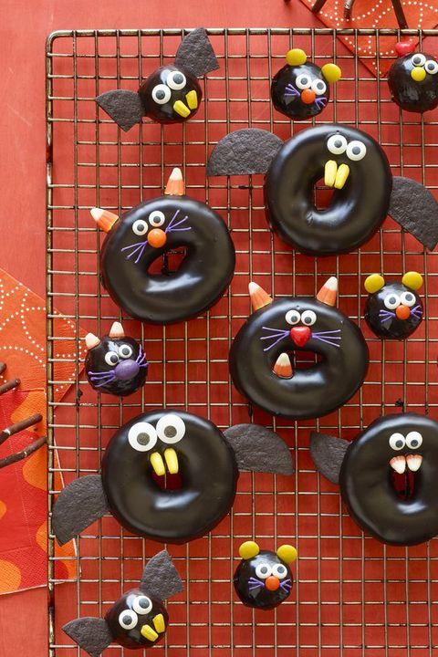 halloween desserts - Black Cat, Bat, Spider, and Mice Doughnuts