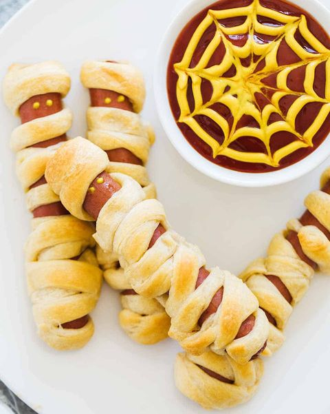 mummy dogs with mustard eyes