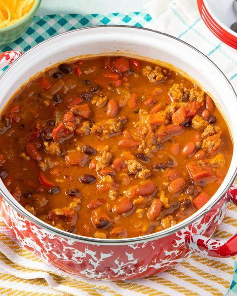 pumpkin chili in red pot
