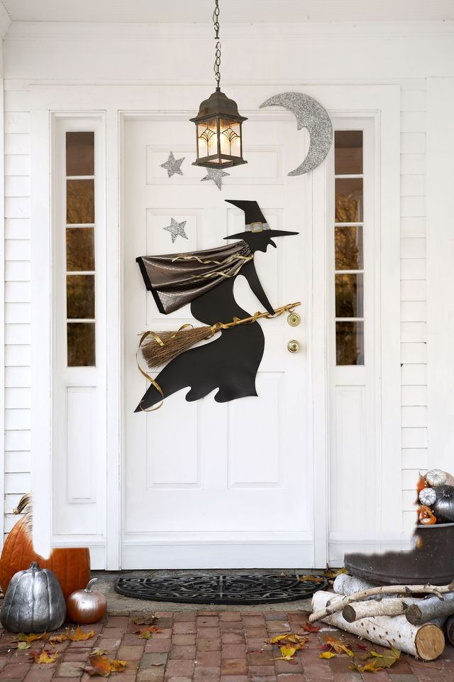 halloween door decorations witch decal