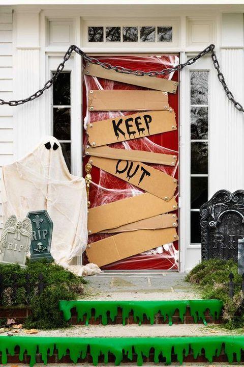 keep out halloween door decorations