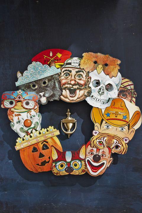 halloween door decorations vintage masks