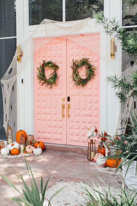 pink halloween front door