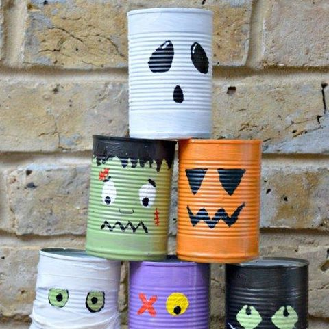 halloween games - tin can bowling