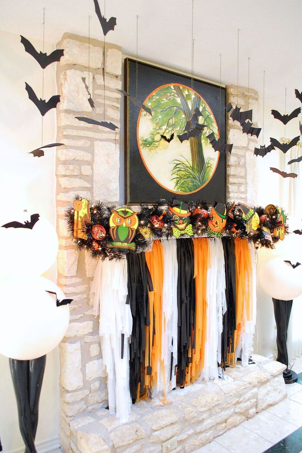 halloween garland and streamer mantel