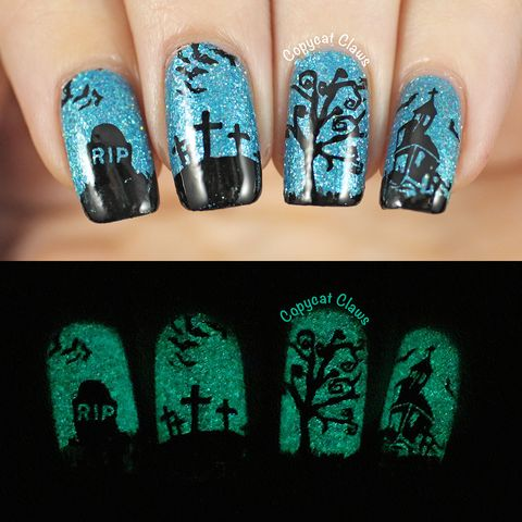 halloween nail art ideas glow in the dark
