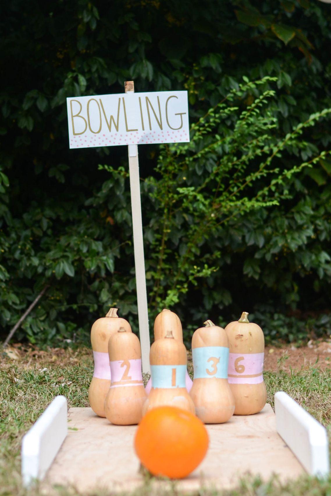 halloween party games pumpkin bowling