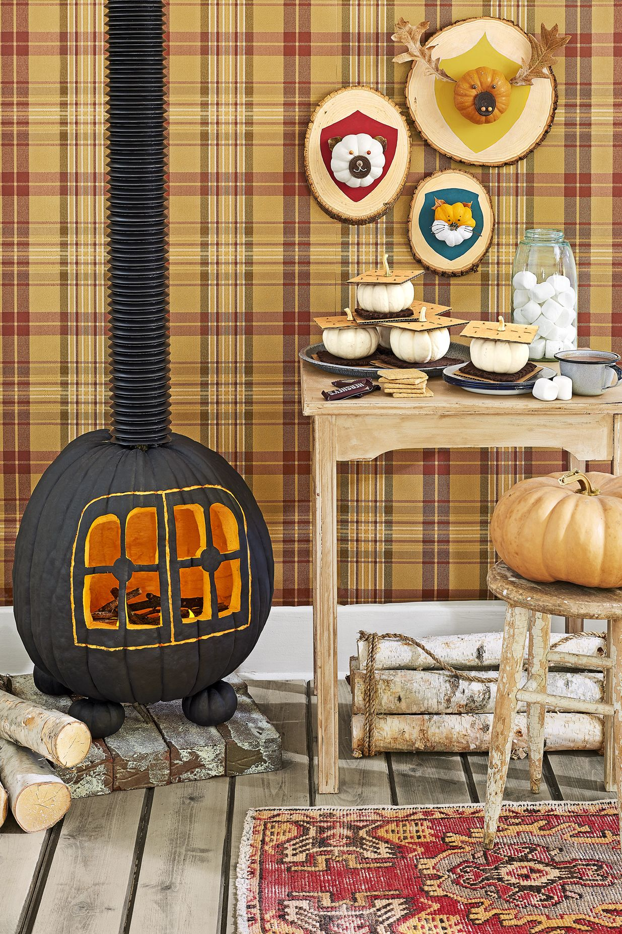 halloween party ideas spooky wood-burning stove jack-o-lantern