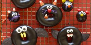 halloween snacks - Black Cat, Bat, Spider, and Mice Doughnuts