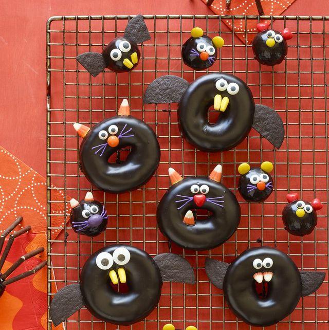 halloween snacks  black cat, bat, spider, and mice doughnuts