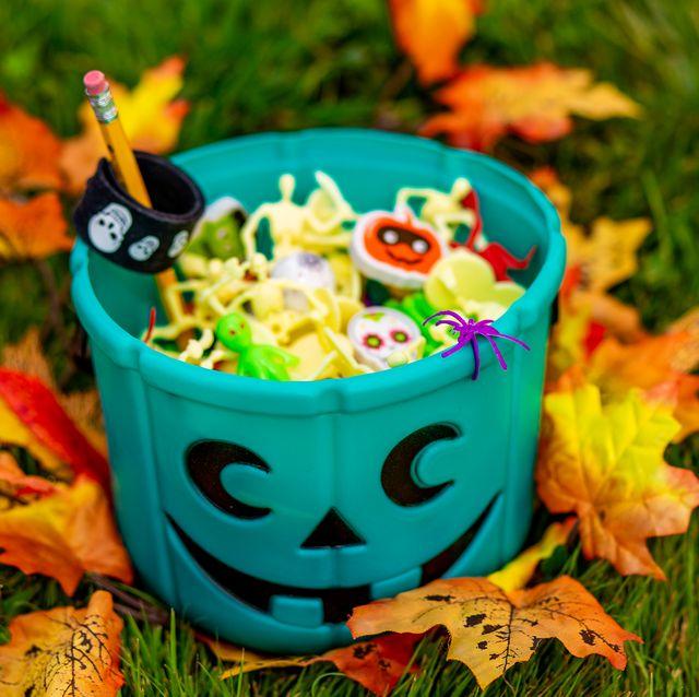 halloween teal basket full of non food treats