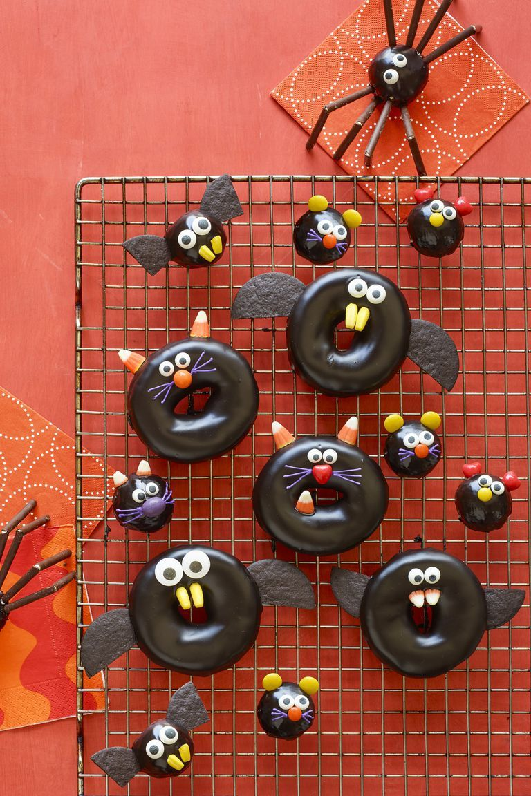 halloween treats for kids black cat spider bat doughnuts