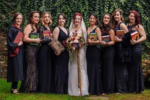 halloween wedding idea harry potter bridesmaid bouquets