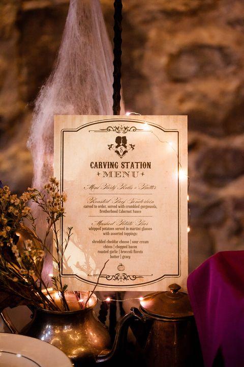 halloween wedding menu