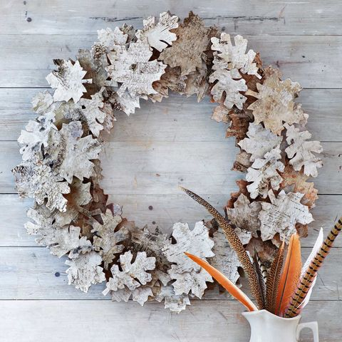 fall wreath with birch bark