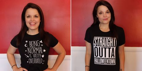 T-shirt, Clothing, Neck, Top, Sleeve, Font, Mouth, Black hair, Shirt, Style,